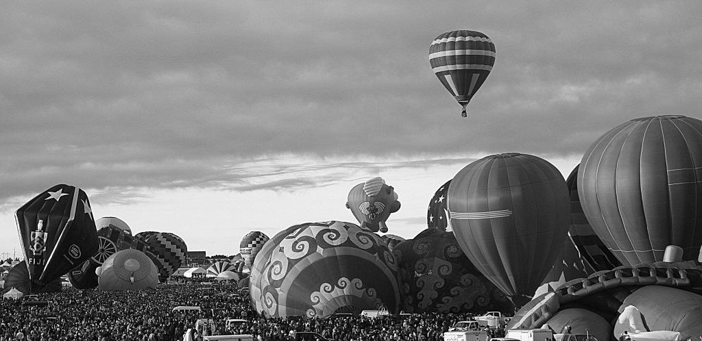 Black and white hot air balloon festival